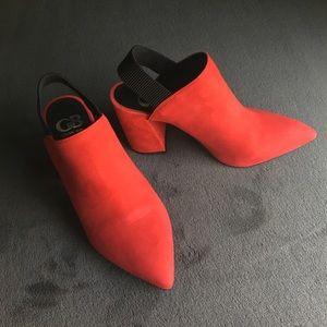 Bright red Gianni Bini block heel mules